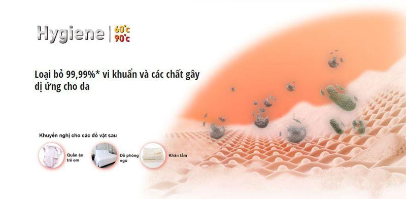 Loại bỏ 99,99% vi khuẩn và các chất gây dị ứng da