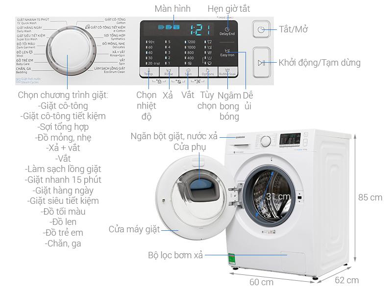 Máy giặt Samsung WW90K54E0UW/SV inverter 9 Kg giá rẻ