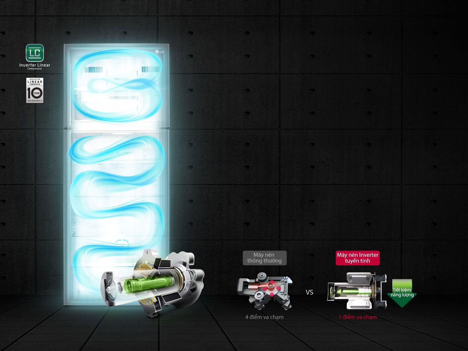 Tủ lạnh LG inverter GN-D422PS 393 lit