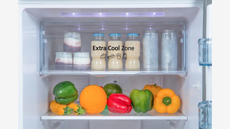 Ngăn Extra Cool Zone nhanh chóng ướp lạnh món thức uống